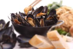 blue mussels shallow focus - stock photo