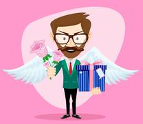 Young Handsome Man with Wings, Flowers and Gifts, Vector Illustration - stock illustration