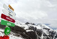 panorama of the french alps with pointers to the slopes for skiers and snowbo - stock photo