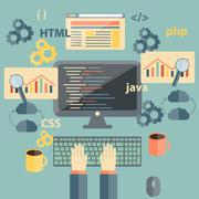 Vector flat illustration with programming objects Stock Illustration