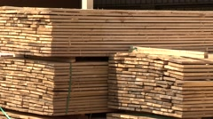 Timbering Stack of wooden bars Stock Footage