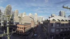 Aerial - Yaletown Vancouver on mainland street 2 Stock Footage