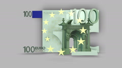 3 Dimensional 100 euro bill Stock Footage