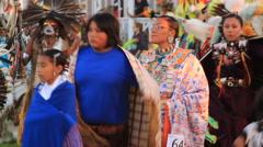 Grand entry of Lakota Pow Wow Stock Footage