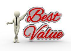 3d businessman with best value Stock Illustration