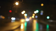 Driving on a rainy night wet road  Stock Footage