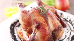 HD footage close up of roasted chicken BBQ Stock Footage