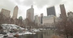 Central Park in Snow in New York City Stock Footage