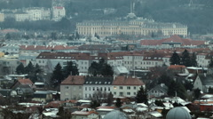 Schoenbrunn 001 castle in foggy winter in vienna with passing cars in distance Stock Footage