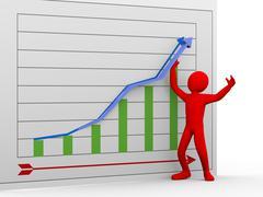 3d man pushing chart arrow upward Stock Illustration