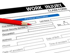 3d pencil and work injury claim form - stock illustration