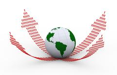 3d globe and rising upward arrows forming arrows Stock Illustration