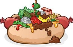 Hot Dog with Toppings And Chili Cartoon - stock illustration