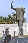 dr. kwame nkrumah vanzalized statue - stock photo