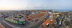 accra, ghana - april 29, 2012: panoramic view of accra, ghana in the evening  - stock photo
