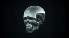 Metal Cyber Human skull Silver Loopable. Alpha matte Stock Footage