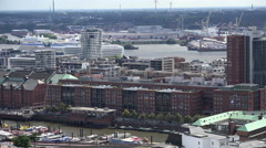 Hamburg HafenCity aerial view Stock Footage