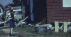 Little Boy Playing Baseball 60s 16mm Stock Footage