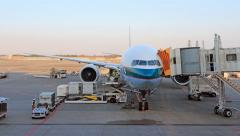 Time lapse load and unload cargo to airplane for air freight logistic - stock footage