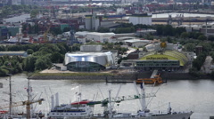 Hamburg harbour aerial view Stock Footage