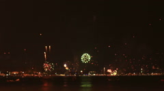 HD foootage of Bokeh New Year Firework at Patong beach Stock Footage