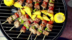 HD Footage close up of Grilling barbecue grill Stock Footage