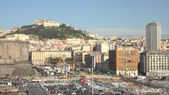 Naples Italy urban city center harbor port pan 4K 009 Stock Footage