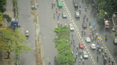 Tracking Shots of Traffic in Ho Chi Minh City (Saigon) from Above Stock Footage