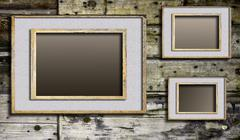 Cracked frames on discolored boards background - stock illustration