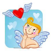Cupid in love. Stock Illustration