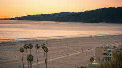 Santa Monica Beautiful Sunset View Mountain Sandy Beach Pacific Ocean 3 Stock Footage