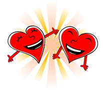 Laughing cartoon hearts - stock illustration
