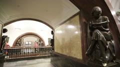 View of Ploshchad Revolyutsii subway station. Stock Footage