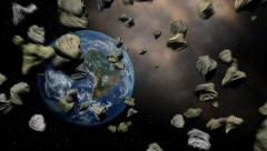 Earth in a stream of meteorites at space Stock Footage