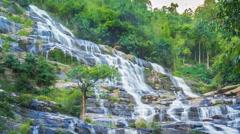 MAEYA Waterfall Famous Cascade Of Chiangmai, Thailand (pan shot) Stock Footage