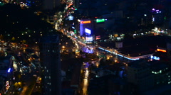 Time Lapse View of Ho Chi Minh City (Saigon) Vietnam from Above at Night Stock Footage