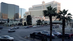 4K Bellagio Hotel Casino Street Life Las Vegas Strip Stock Footage