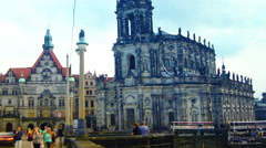 Traffic Time lapse  with Dresden Cathedral, Stock Footage