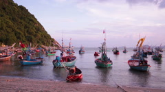 Group of fishing boat anchored at Pranburi beach in Thailand Stock Footage