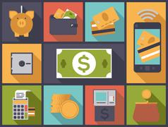 personal finance flat design icons vector illustration. - stock illustration