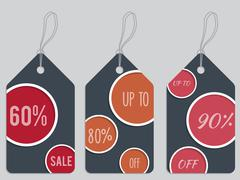 Dark dotted discount labels Stock Illustration