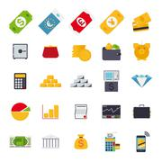 flat design money and finance vector icons collection - stock illustration