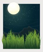 grass blades and night moon vector illustration - stock illustration