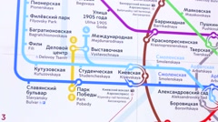 Moscow metro map. - stock footage