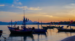 4k timelapse,Group of fishing boat anchored at Pranburi beach in Thailand Stock Footage