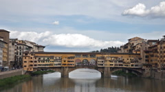 View of Gold (Ponte Vecchio) Bridge in Florence - stock footage