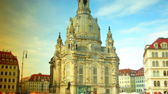 The Church of Our Lady has been a hugely popular tourist destination in Dresden Stock Footage