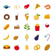 Food icons vector set Stock Illustration