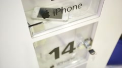 Lockers with iphone chargers. Stock Footage