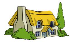 country cottage or farm house - stock illustration